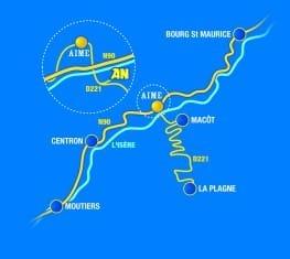 Plan accès AN Rafting Savoie