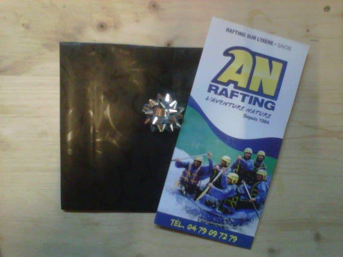 Bon cadeau et pochette cadeau aventure AN Rafting